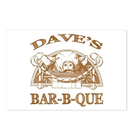 Dave's Personalized Name Vintage BBQ Postcards (Pa