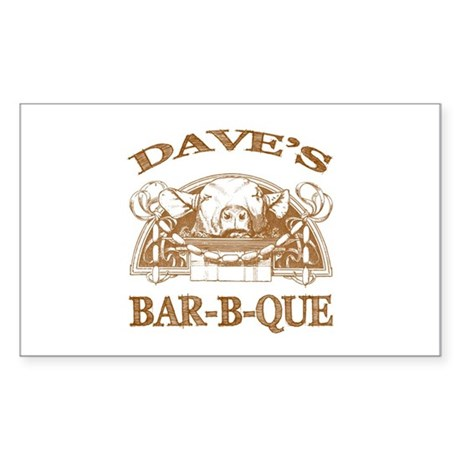 Dave's Personalized Name Vintage BBQ Sticker (Rect