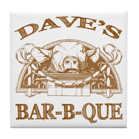 Dave's Personalized Name Vintage BBQ Tile Coaster