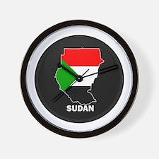 Flag Map of sudan Wall Clock