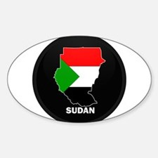 Flag Map of sudan Oval Decal