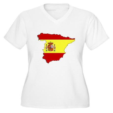 Spain Flag Map Women's Plus Size V-Neck T-Shirt
