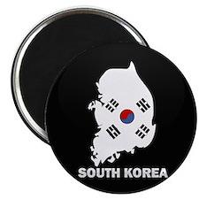 Flag Map of South Korea Magnet