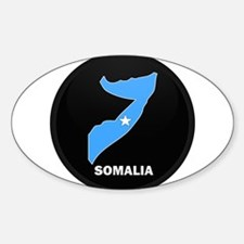 Flag Map of somalia Oval Decal