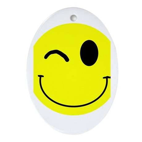 Winking Smiley Oval Ornament