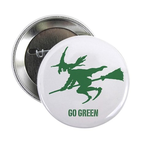 """Go Green Wicked Witch 2.25"""" Button"""