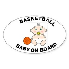 Basketball Baby on Board Oval Bumper Stickers