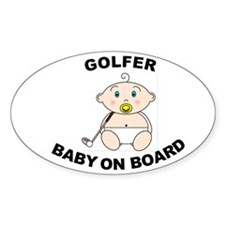 Golfer Baby on Board Oval Decal