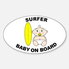 Surfer Baby on Board Oval Decal