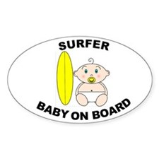 Surfer Baby on Board Oval Stickers