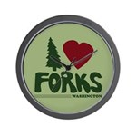 I Heart Forks, WA - Twilight Wall Clock