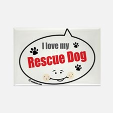 Love Rescue Dog Rectangle Magnet