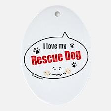 Love Rescue Dog Oval Ornament