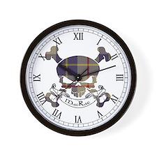 MacRae Tartan Skull Wall Clock
