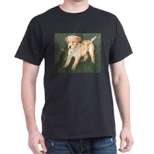 Yellow Pup w/Butterfly Black T-Shirt
