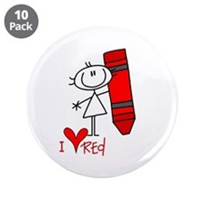 "I Love Red 3.5"" Button (10 pack)"