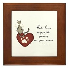 Cat Pawprints Framed Tile