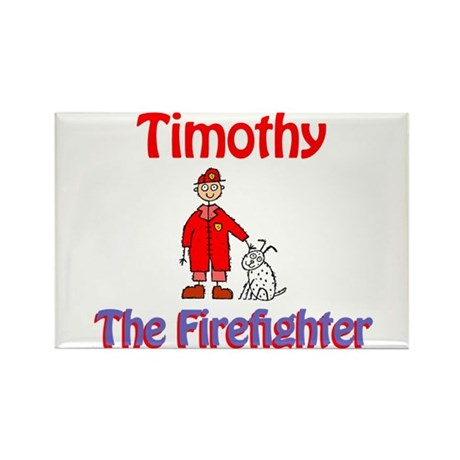 Timothy - Firefighter Rectangle Magnet