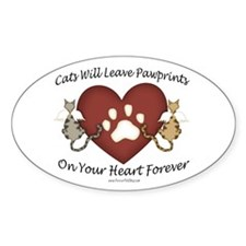 Cat Paw Prints Oval Decal