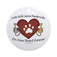 Cat Paw Prints Ornament (Round)
