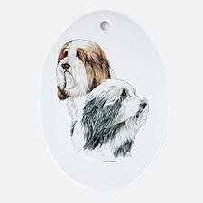Bearded Collies, Beardie dogs Oval Ornament