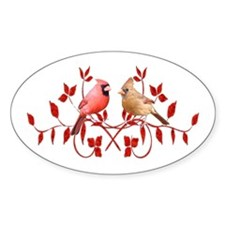Love Birds Oval Sticker (10 pk)