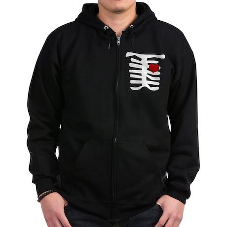 Skeleton with Heart Zip Hoodie (dark)