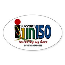 I Support 1 In 150 & My Sons Oval Decal