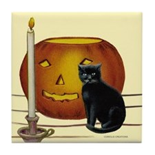 Cat, Jack & Candle- - Tile Coaster