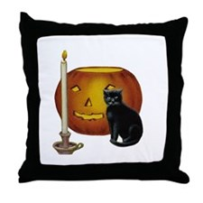 Cat, Jack & Candle - Throw Pillow