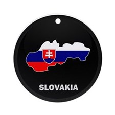 Flag Map of Slovakia Ornament (Round)