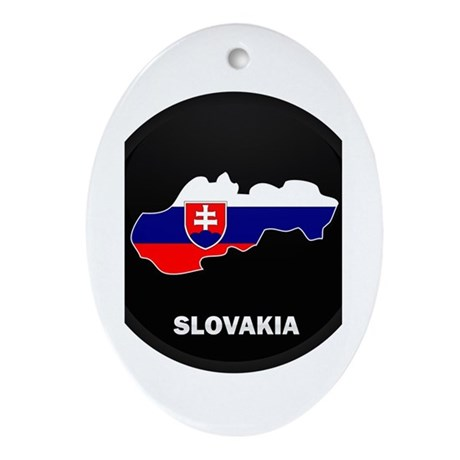 Flag Map of Slovakia Oval Ornament