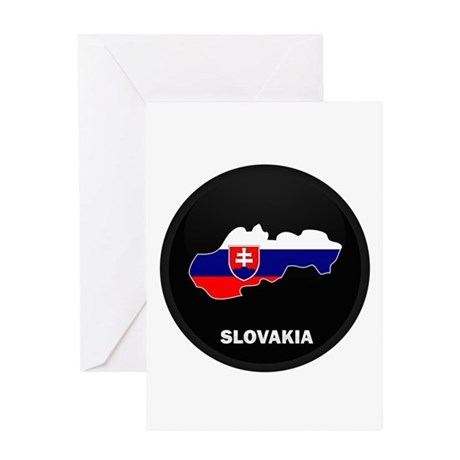 Flag Map of Slovakia Greeting Card