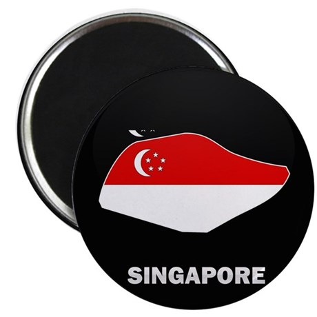 Flag Map of SINGAPORE Magnet