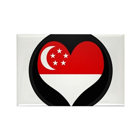 I love SINGAPORE Flag Rectangle Magnet
