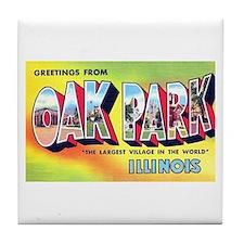Oak Park Illinois Greetings Tile Coaster