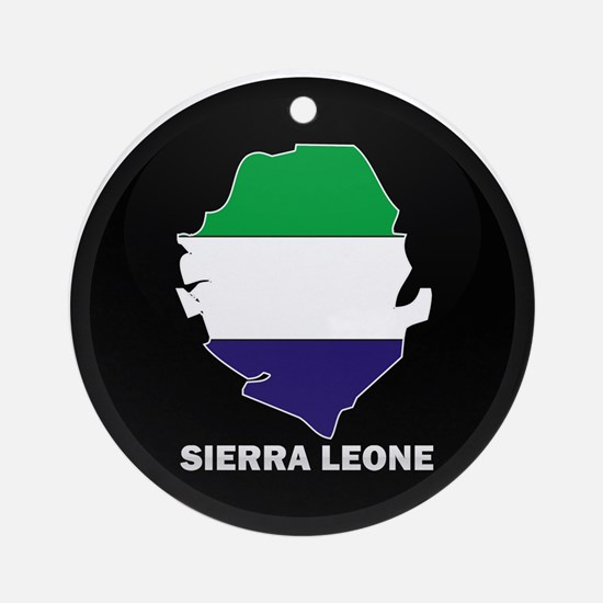 Flag Map of Sierra Leone Ornament (Round)