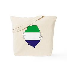 Sierra Leone Flag Map Tote Bag