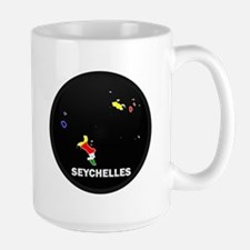 Flag Map of seychelles Islan Large Mug