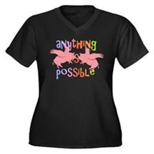 Anything is Possible Women's Plus Size V-Neck Dark