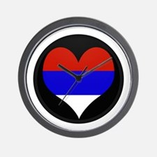 I love Serbia Flag Wall Clock