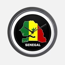Flag Map of senegal Wall Clock