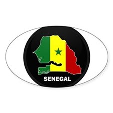 Flag Map of senegal Oval Decal