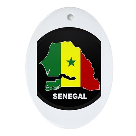 Flag Map of senegal Oval Ornament