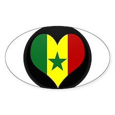 I love senegal Flag Oval Decal