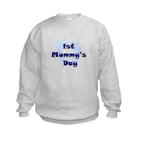 1st Mommy's Day - Blue Feet - Kids Sweatshirt