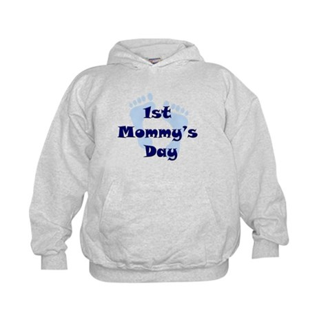 1st Mommy's Day - Blue Feet - Kids Hoodie