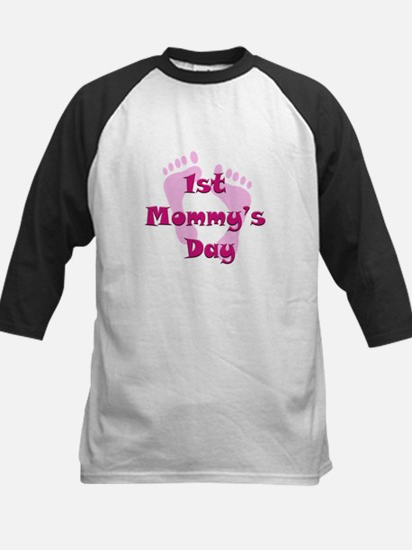 1st Mommy's Day - pink feet - Kids Baseball Jersey