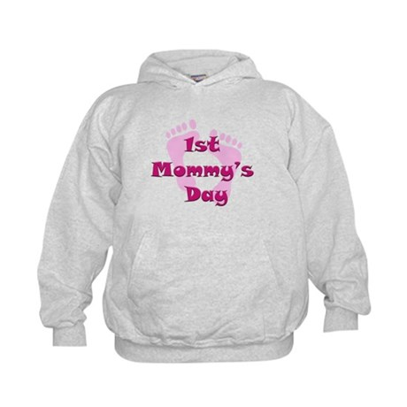 1st Mommy's Day - pink feet - Kids Hoodie