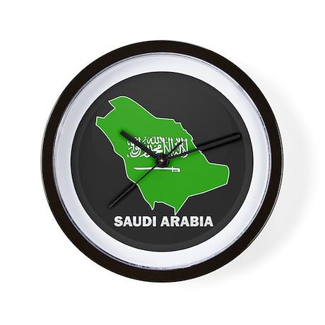 Flag Map of Saudi Arabia Wall Clock
